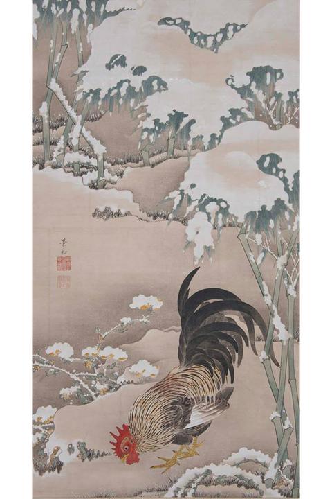 雪中雄鶏図 細見美術館蔵 伊藤若冲筆