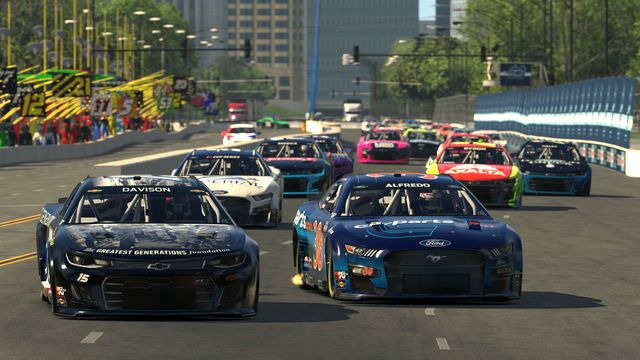enascar iracing pro invitational series race at virtual chicago street course