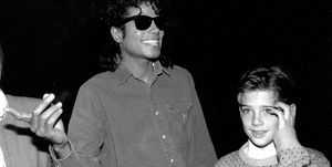 Michael Jackson and Liza Minelli backstage after seeing the Phantom of the Opera with Jimmy Safechuck