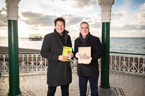 James Nesbitt and Richard Hanscott, CEO of Yell - Last day of the Yellow Pages