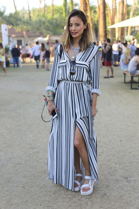 7dabeeb6dc0 Jamie Chung Wears Teva Flatform Universal Sandals To The 2015 Coachella  Valley Music Festival