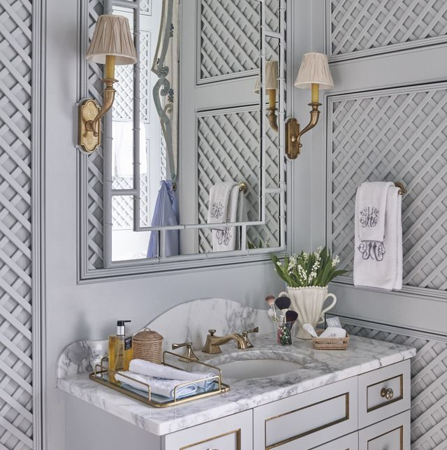 hodges added custom milled lattice to existing wall paneling as an ode to new orleans enchanting garden rooms