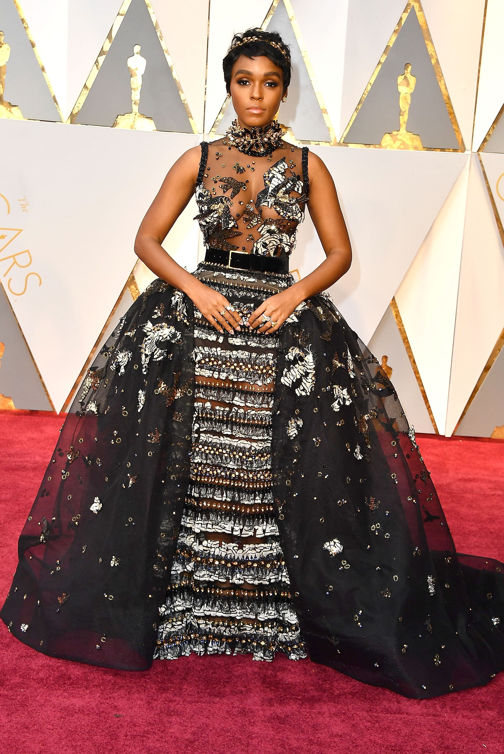 Janelle Monáe, 2017 Please observe the detailing on Janelle Monáe's fairytale Elie Saab Haute Couture gown. It was her first time at the Academy Awards, and she couldn't have nailed the outfit better.