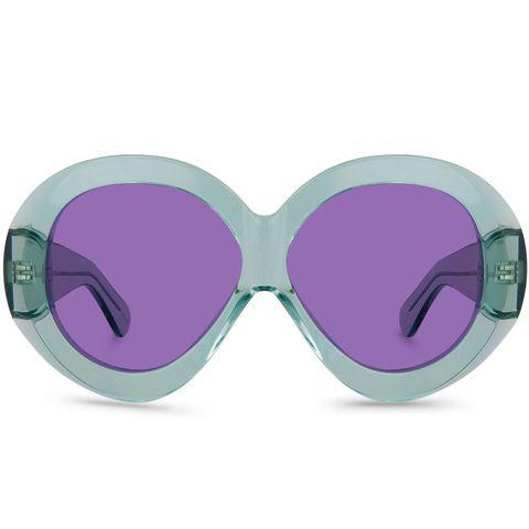 janis blue retro zonnebril met ronde glazen in paars en blauw
