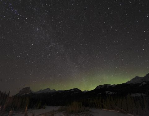 January 3, 2009 - Quadrantid Meteor Shower, Milky Way and Aurora, Bow Valley, Banff National Park, Alberta, Canada.
