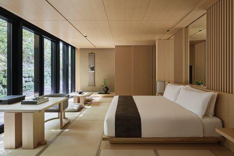 Room, Furniture, Interior design, Property, Building, Bedroom, Ceiling, Bed, Bed frame, Architecture,