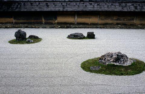 japan, kyoto, ryoanji garden, zen buddhism rock garden