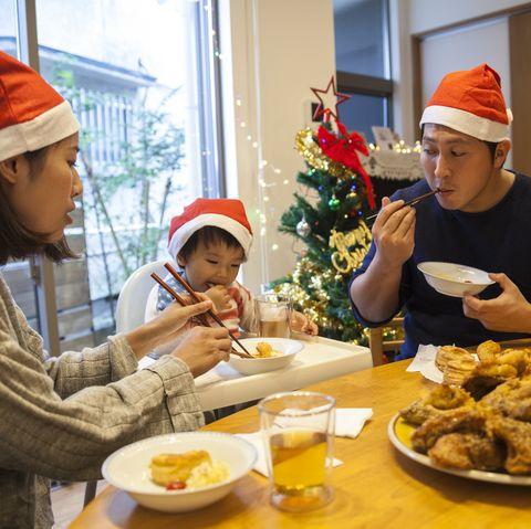 japanese family having christmas lunch