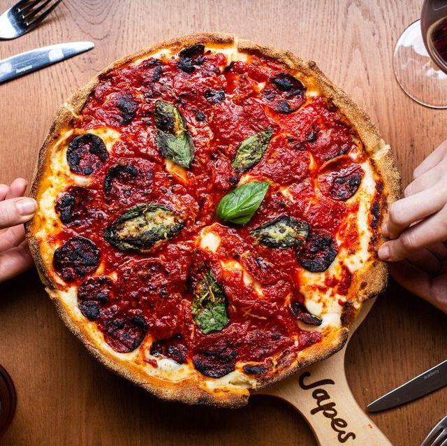 Dish, Food, Cuisine, Pizza, Ingredient, California-style pizza, Flatbread, Pizza cutter, Italian food, Recipe,