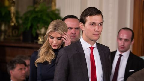 Ivanka Trump and Jared Kushner at President Trump and Angela Merkel's joint press conference