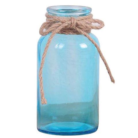 Jarrón cristal azul