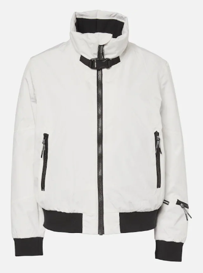 Clothing, White, Jacket, Outerwear, Sleeve, Collar, Leather jacket, Leather, Zipper, Top,