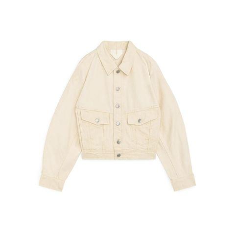 denim jas jack katoen beige licht