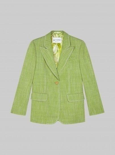 groene blazer van polyester en viscose van Etro
