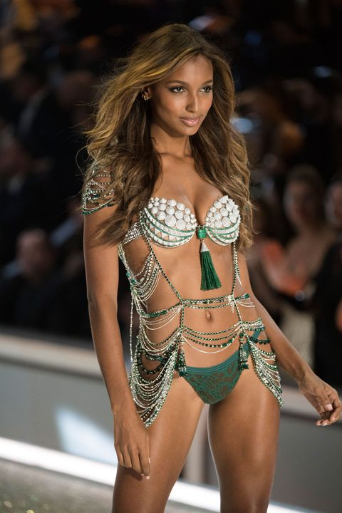 Jasmine Tookes wearing the Victoria's Secret Fantasy bra