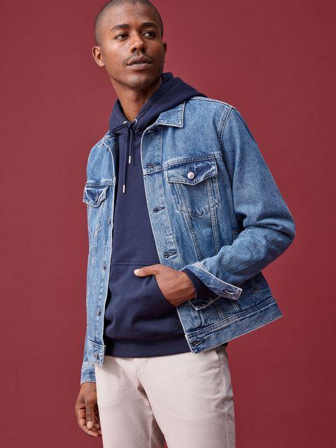 Denim, Clothing, Blue, Jeans, Jacket, Outerwear, Pocket, Sleeve, Textile, Fashion,