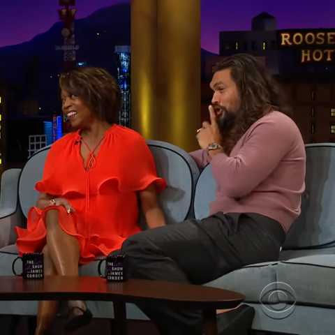 Jason Momoa and Alfre Woodard on The Late Late Show with James Corden, November 2019