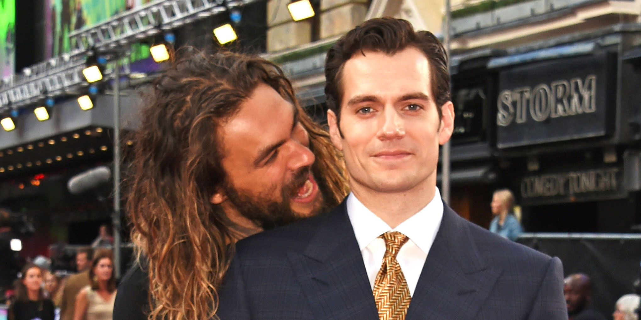 Jason Momoa, Henry Cavill at Suicide Squad premiere in London, 2016
