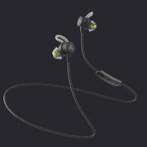 a pair of black wireless earbuds