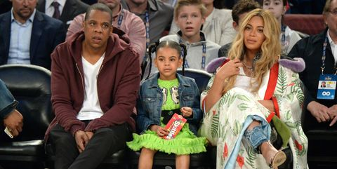 Jay Z, Blue Ivy and Beyonce at NBA game in February