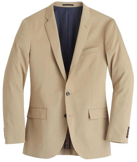 Clothing, Outerwear, Blazer, Jacket, Suit, Beige, Tan, Formal wear, Khaki, Sleeve,