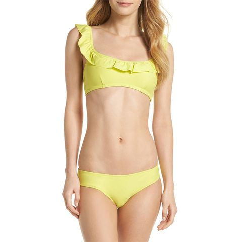 j. crew yellow ruffle bikini
