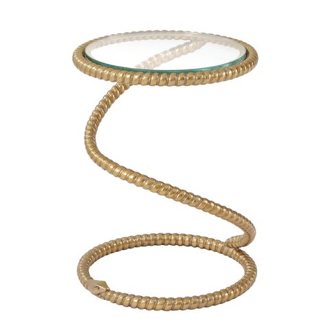 coiled snake accent table with glass top