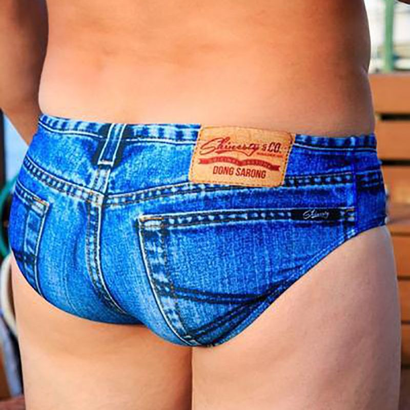 Denim Speedo Bathing Suits Exist and We Don't Know How to Feel