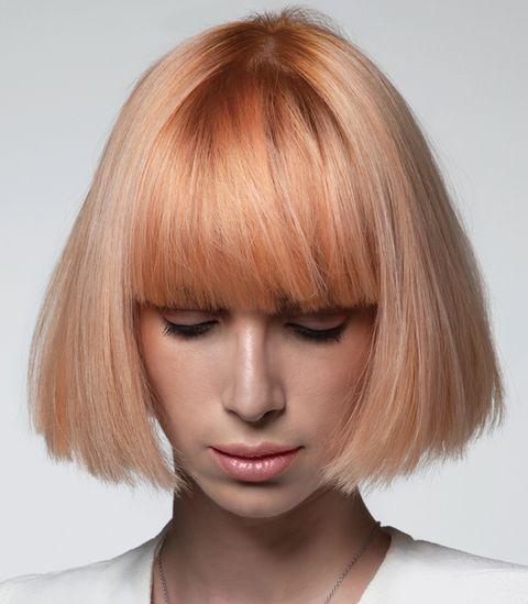 Hair, Face, Hairstyle, Blond, Chin, Hair coloring, Bob cut, Bangs, Layered hair, Eyebrow,