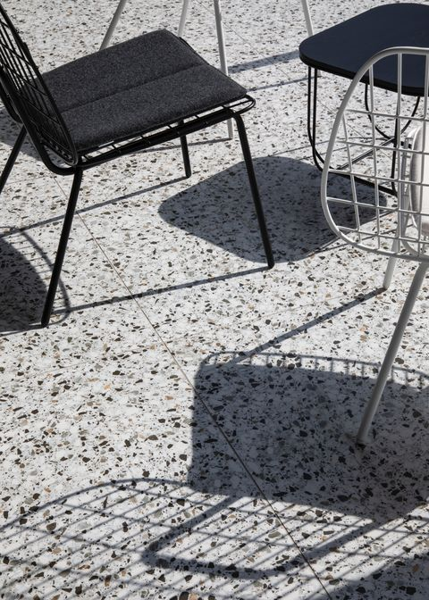 Furniture, Chair, Table, Black-and-white, Shadow, Outdoor table, Outdoor furniture, Architecture, Design, Tree,