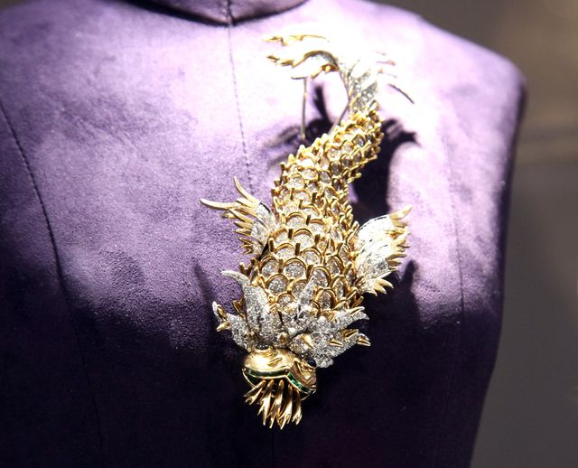 new york, ny   december 01  the night of the iguana brooch by jean schlumberger owned by elizabeth taylor and gift from richard burton on display at the collection of elizabeth taylor auction press preview at christies on december 1, 2011 in new york city  photo by paul zimmermanwireimage