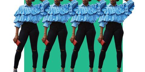 Sleeve, Trousers, Textile, Collar, Team, Street fashion, Pocket, Waist, Active pants, Top,