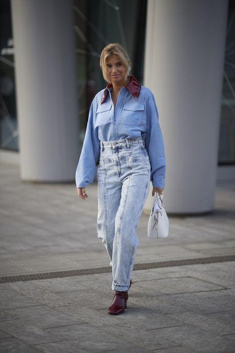 Denim, Jeans, White, Clothing, Fashion, Blue, Street fashion, Textile, Fashion show, Human,