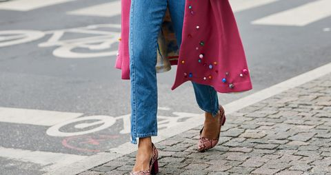 Pink, Clothing, Street fashion, Blue, Red, Denim, Fashion, Jeans, Coat, Footwear,