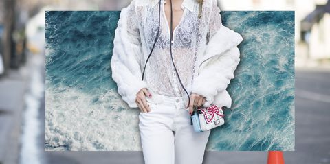 White, Clothing, Outerwear, Street fashion, Fur, Jeans, Shoulder, Fashion, Neck, Jacket,