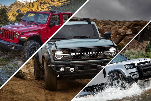 jeep wrangler, ford bronco, land rover defender