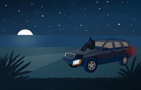 Vehicle, Car, Sky, Sport utility vehicle, Landscape, Compact sport utility vehicle, Animation, Crossover suv, Automotive fog light, Family car,