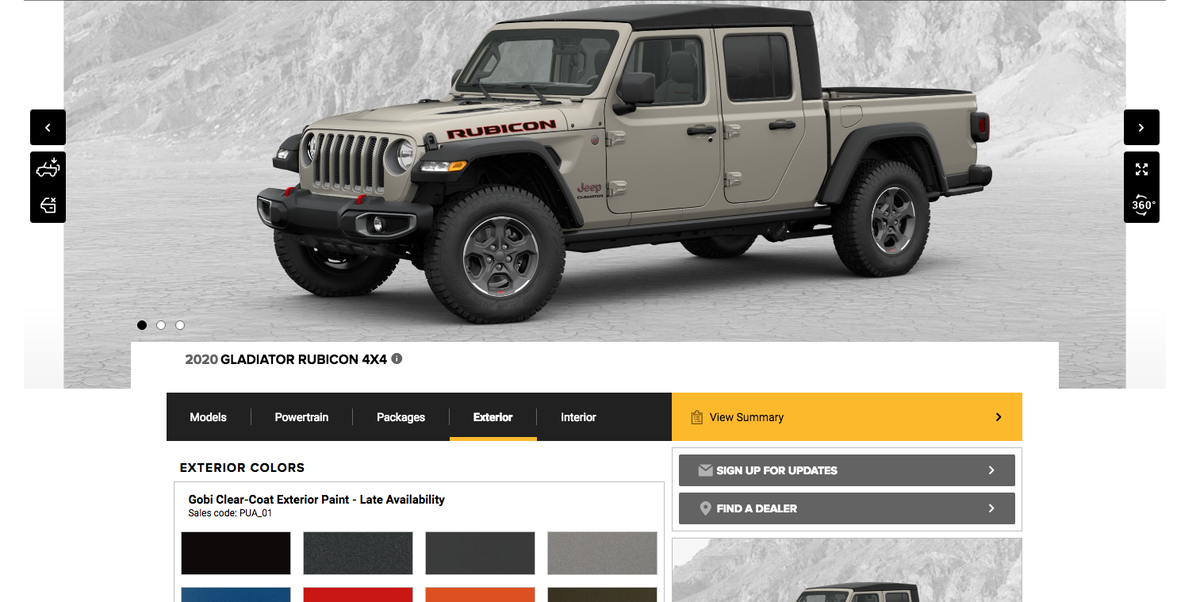 2020 Jeep Gladiator Build-Your-Own Tool – Configure Your ...