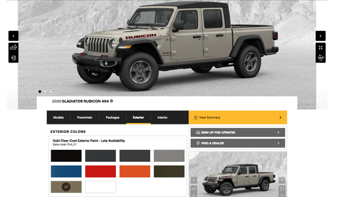 2020 Jeep Gladiator Build Your Own Tool Configure Your Pickup