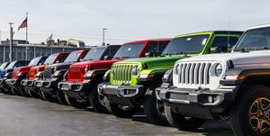 Jeep Wranglers on display next to the Chrysler Jeep Transmission factory. The subsidiaries of FCA are Chrysler, Dodge, Jeep, and Ram