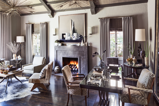 jeff andrew's los angeles  living room with fireplace
