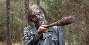 Negan wearing The Whisperers zombie mask, The Walking Dead