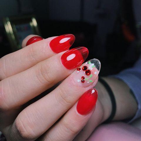 Nail polish, Nail, Nail care, Manicure, Red, Finger, Cosmetics, Beauty, Hand, Artificial nails,