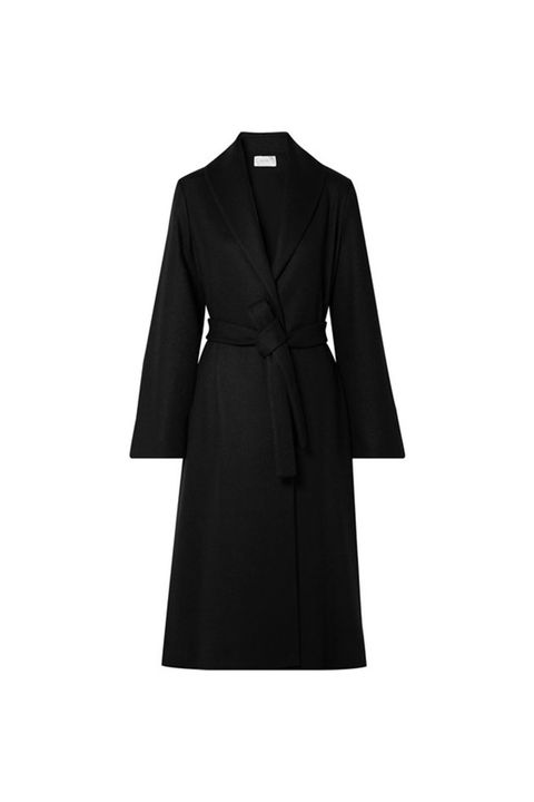 Clothing, Coat, Trench coat, Black, Outerwear, Overcoat, Collar, Sleeve, Dress, Robe,