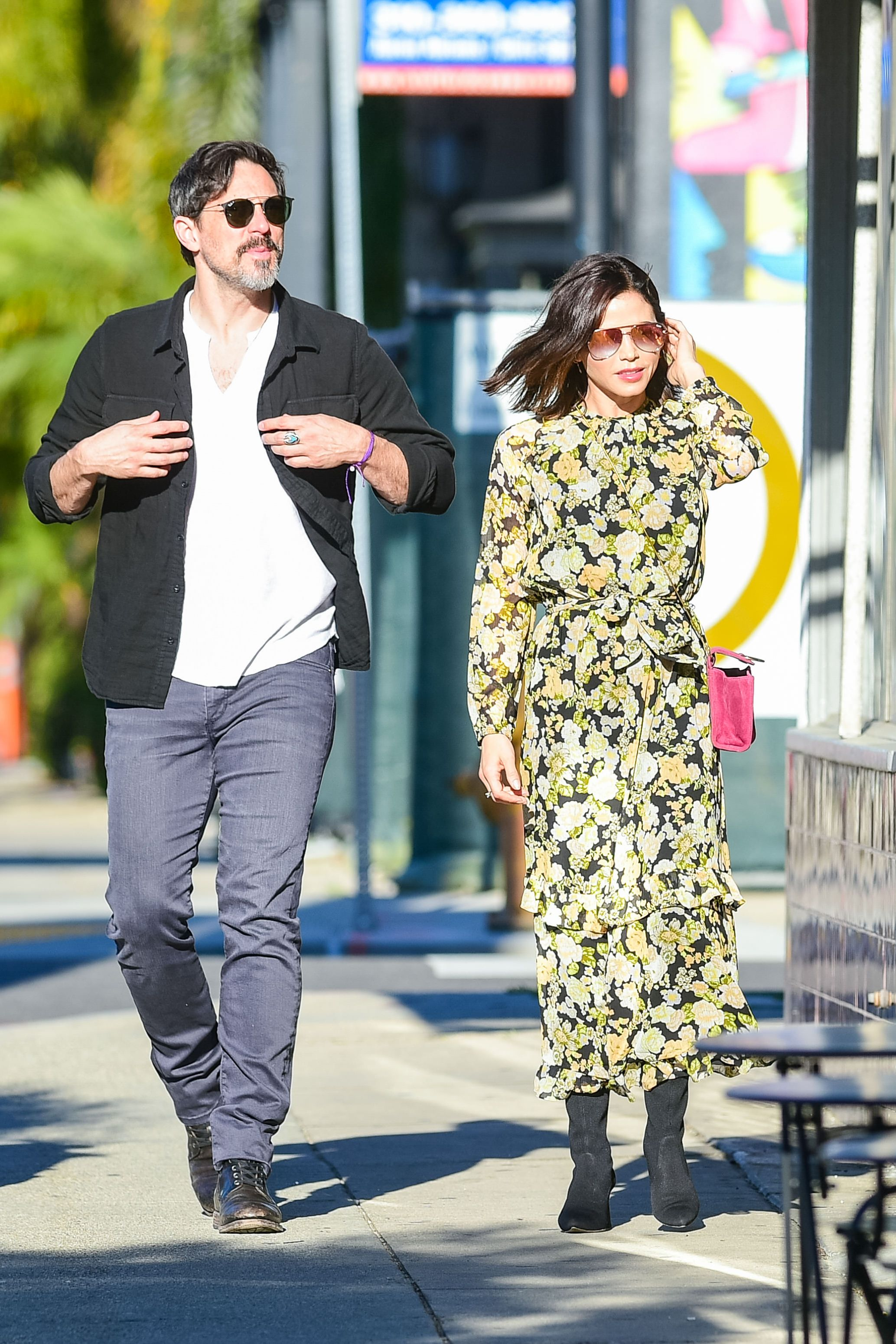 Jenna Dewan The not-too-hot, not-too-cold weather in May means you can wear a chiffon floral dress with sleeves and not succumb to a heat stroke. Instead of your usual sandals, swap for a pair of transitional ankle booties.