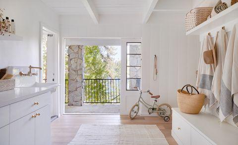 White, Room, Property, Floor, Interior design, Bathroom, Furniture, House, Tile, Building,