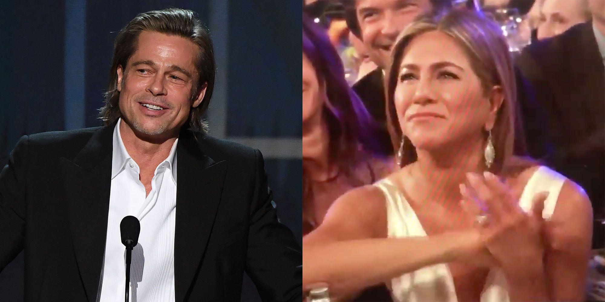 Jennifer Aniston's Reaction to Brad Pitt's SAG Award Acceptance Speech Says a Lot