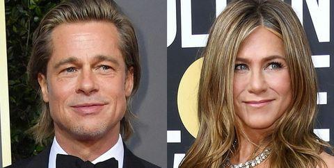 Brad Pitt y Jennifer Aniston, en los Globos de Oro 2020.