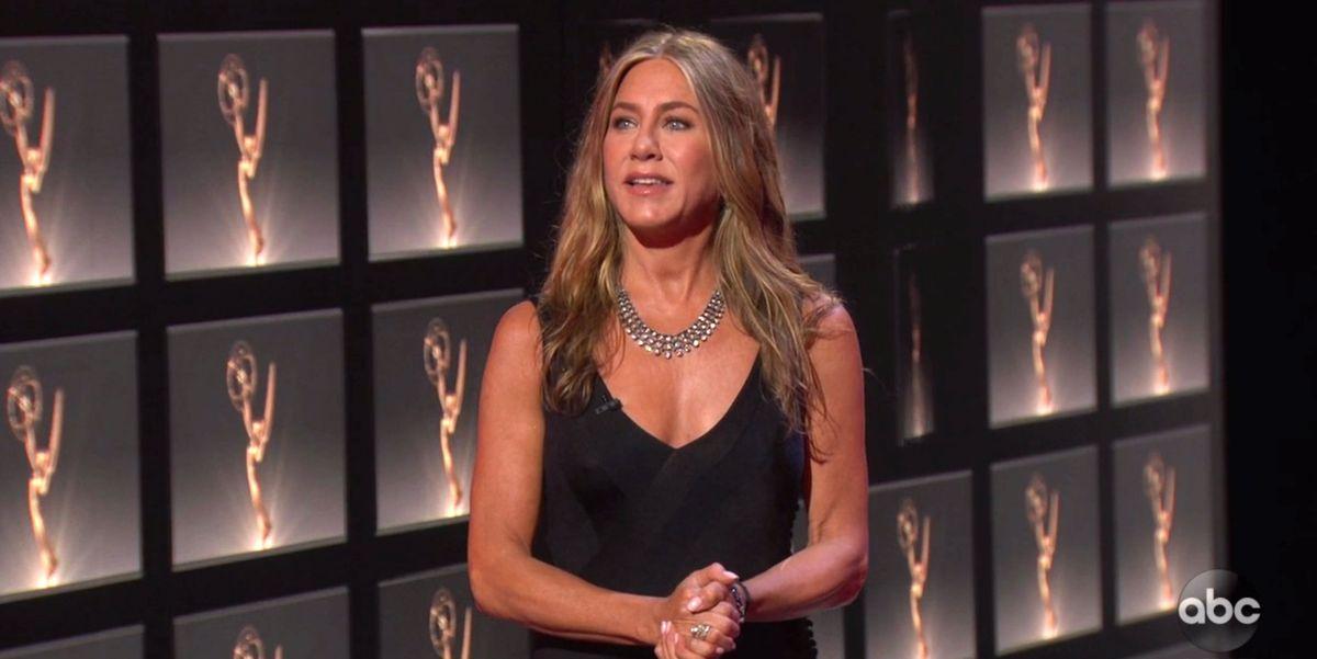Jennifer Aniston Wore a Sleek Black Dress and Diamonds to the 2020 Emmys