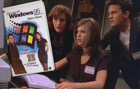 Jennifer Aniston y Matthew Perry, de Friends, presentando Windows 95